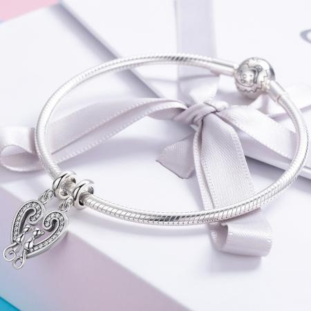 Charm  argint 925 cu inimioara si pisicute - Be Nature PST01263