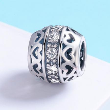 Charm argint 925 cu inimioare si zirconii albe- Be in Love PST01172