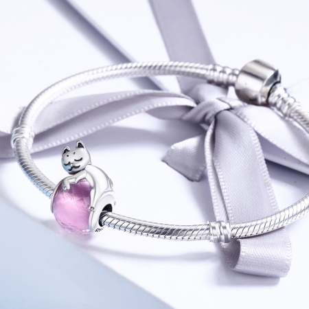 Charm argint 925 cu pisicuta si cristal roz - Be Nature PST0112 [3]