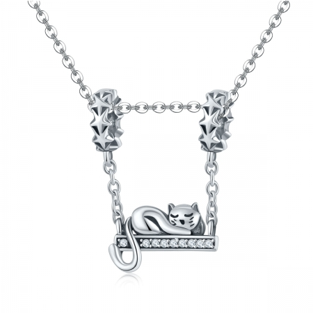 Charm argint 925 cu pisicuta, stelute si zirconii - Be Nature PST01454