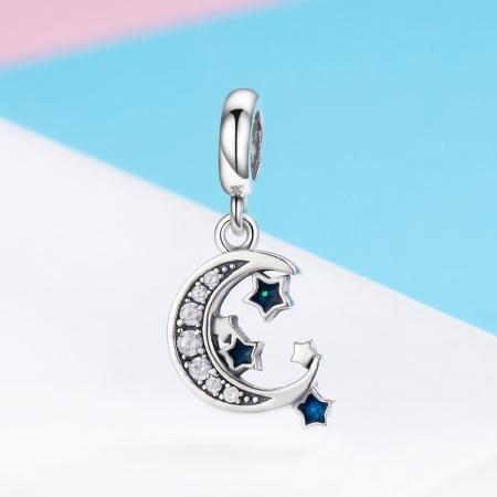 Charm argint 925 cu semiluna, stelute albastre si zirconii albe - Be Nature PST0124 [4]