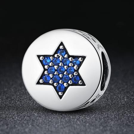 Charm argint 925 cu steluta si zirconii albastre - Be Nature PST00581