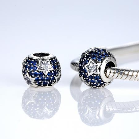 Charm argint 925 cu stelute albe si zirconii albastre - Be Nature PST00221