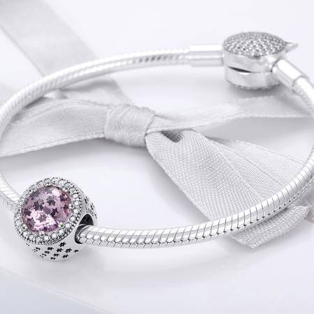 Charm argint 925 cu stelute roz si zirconii albe - Be Nature PST01362
