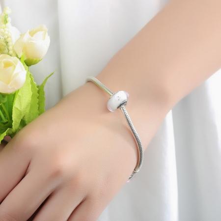 Charm argint 925 cu sticla alba - Be Elegant PST00632