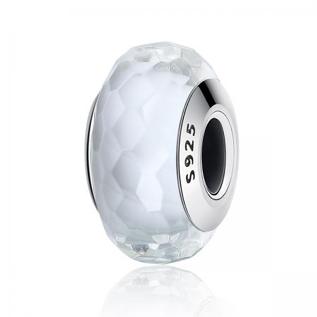 Charm argint 925 cu sticla alba multifatetata - Be Elegant PST0095