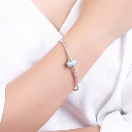Charm argint 925 cu sticla alba multifatetata - Be Elegant PST00954