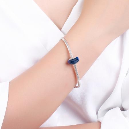 Charm argint 925 cu sticla albastra multifatetata - Be Elegant PST00944