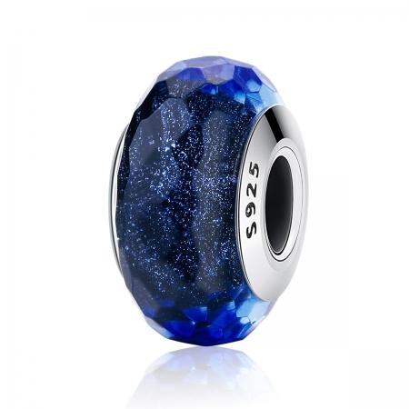 Charm argint 925 cu sticla albastra multifatetata - Be Elegant PST00940
