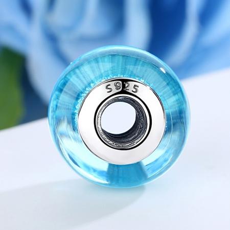 Charm argint 925 cu sticla bleu - Be Elegant PST00672