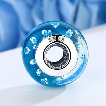 Charm argint 925 cu sticla bleu - Be Elegant PST00723
