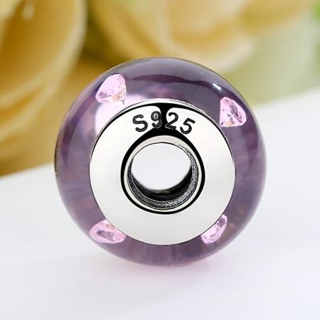 Charm argint 925 cu sticla roz - Be Elegant PST00624