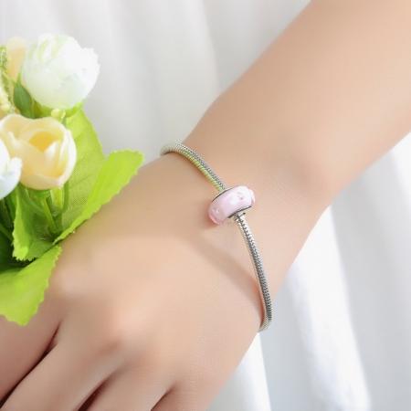 Charm argint 925 cu sticla roz - Be Elegant PST00622
