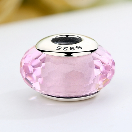 Charm argint 925 cu sticla roz - Be Elegant PST00644