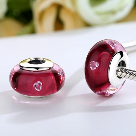 Charm argint 925 cu sticla roz cu inimioare - Be Elegant PST00731
