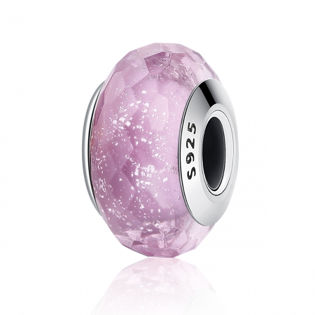 Charm argint 925 cu sticla roz multifatetata - Be Elegant PST0093