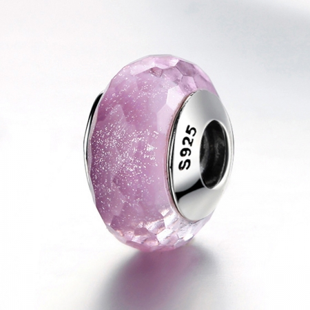 Charm argint 925 cu sticla roz multifatetata - Be Elegant PST00933