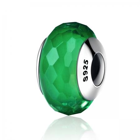 Charm argint 925 cu sticla verde multifatetata - Be Elegant PST0098