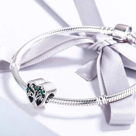 Charm argint 925 inimioara cu copacul vietii - Be in Love PST01052