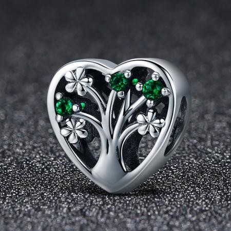 Charm argint 925 inimioara cu copacul vietii - Be in Love PST01051