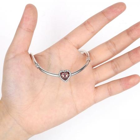 Charm argint 925 inimioara cu cristal maro si zirconii albe - Be in Love PST00454