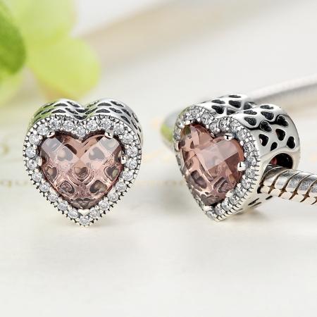 Charm argint 925 inimioara cu cristal maro si zirconii albe - Be in Love PST00453