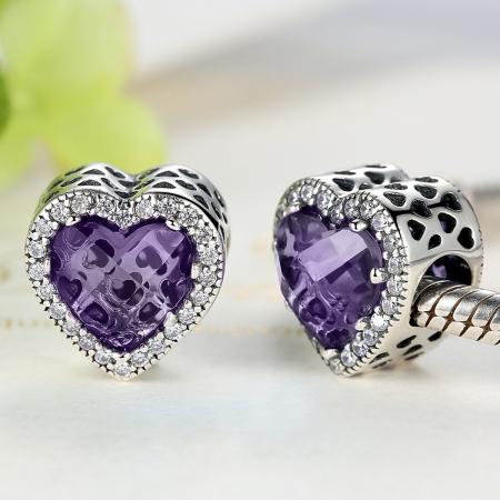 Charm argint 925 inimioara cu cristal mov si zirconii albe - Be in Love PST00463