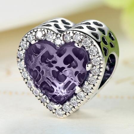 Charm argint 925 inimioara cu cristal mov si zirconii albe - Be in Love PST00462