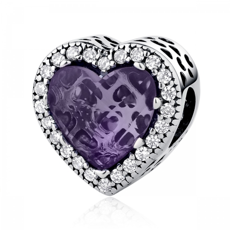 Charm argint 925 inimioara cu cristal mov si zirconii albe - Be in Love PST0046