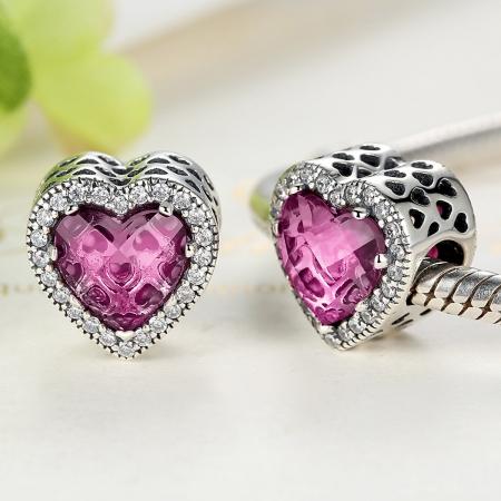Charm argint 925 inimioara cu cristal roz si zirconii albe - Be in Love PST0044 [2]
