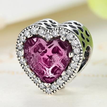 Charm argint 925 inimioara cu cristal roz si zirconii albe - Be in Love PST0044 [3]