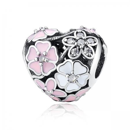 Charm argint 925 inimioara cu flori si zirconii - Be in Love PST0036
