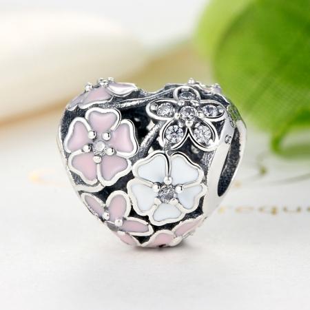 Charm argint 925 inimioara cu flori si zirconii - Be in Love PST00363