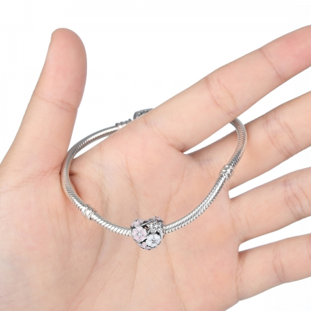 Charm argint 925 inimioara cu flori si zirconii - Be in Love PST00362