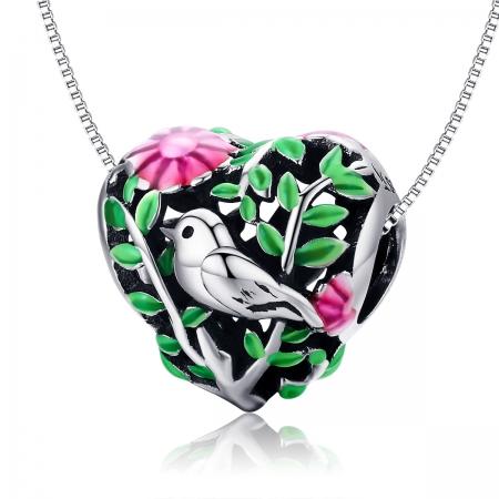 Charm argint 925 inimioara cu floricele si vrabiuta - Be in Love PST01296