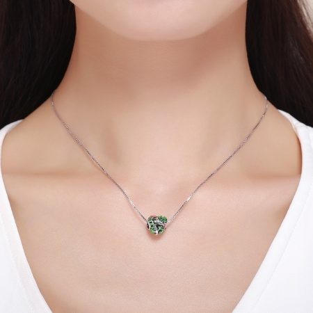 Charm argint 925 inimioara cu floricele si vrabiuta - Be in Love PST01295