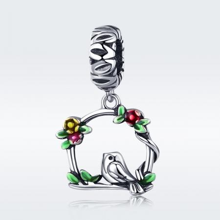 Charm argint 925 inimioara cu floricele si vrabiuta - Be Nature PST01276