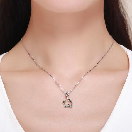 Charm argint 925 inimioara cu floricele si vrabiuta - Be Nature PST01275