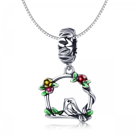 Charm argint 925 inimioara cu floricele si vrabiuta - Be Nature PST01272