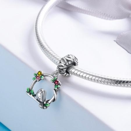 Charm argint 925 inimioara cu floricele si vrabiuta - Be Nature PST01271