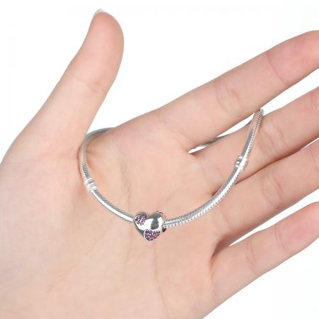 Charm argint 925 inimioara cu zirconii roz - Be in Love PST0054 [3]