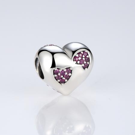 Charm argint 925 inimioara cu zirconii roz - Be in Love PST0054 [1]