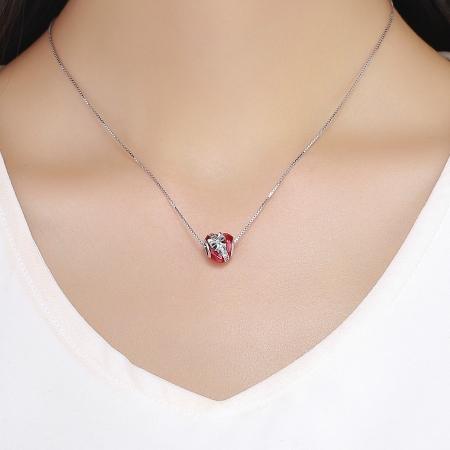 Charm argint 925 inimioara rosie cu fundita si zirconii albe - Be in Love PST0131 [4]