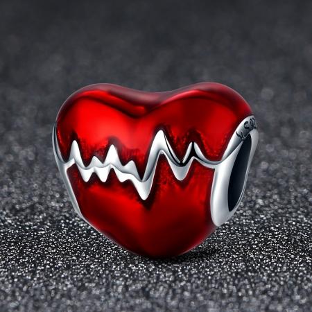 Charm argint 925 inimioara rosie cu puls - Be in Love PST00872