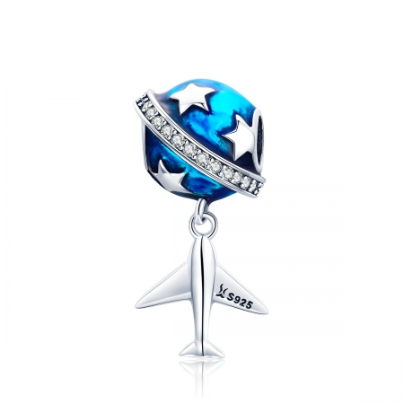 Charm argint 925 planeta albastra cu avion, stelute si zirconii albe PST0149
