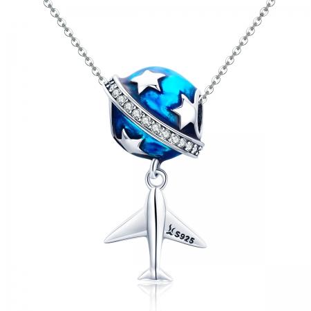 Charm argint 925 planeta albastra cu avion, stelute si zirconii albe PST01494