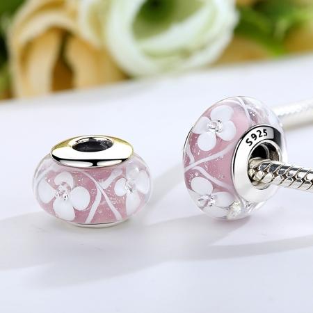 Charm argint 925 roz cu floricele albe - Be Nature PST00751