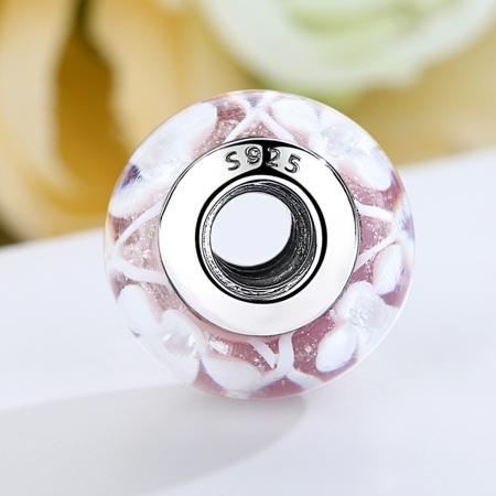 Charm argint 925 roz cu floricele albe - Be Nature PST00753