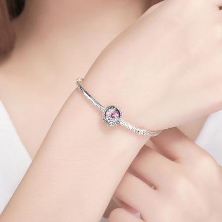 Charm argint 925 roz cu floricele si zirconii albe - Be Nature PST00854