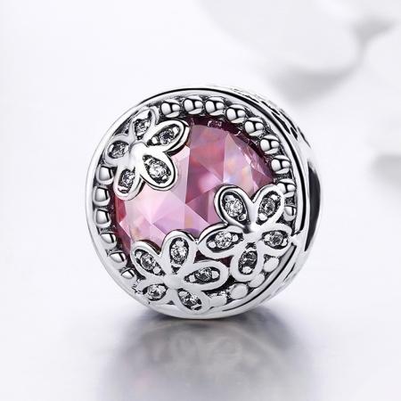 Charm argint 925 roz cu floricele si zirconii albe - Be Nature PST00853